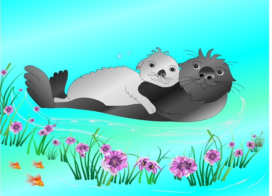 sea ​​otters cuddle in the water drawing