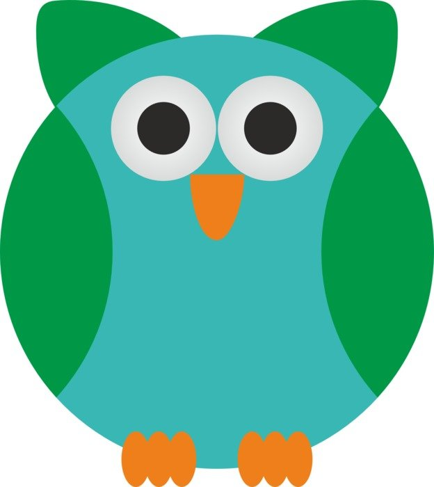 drawing of a funny blue green owl