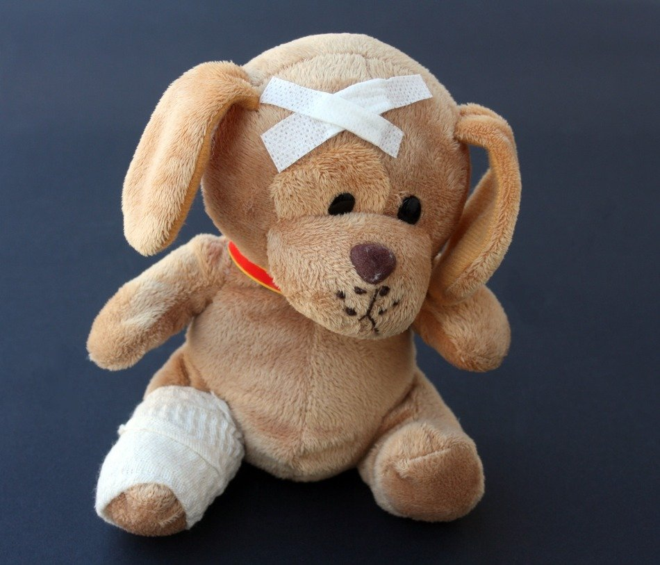 soft toy of an injured dog