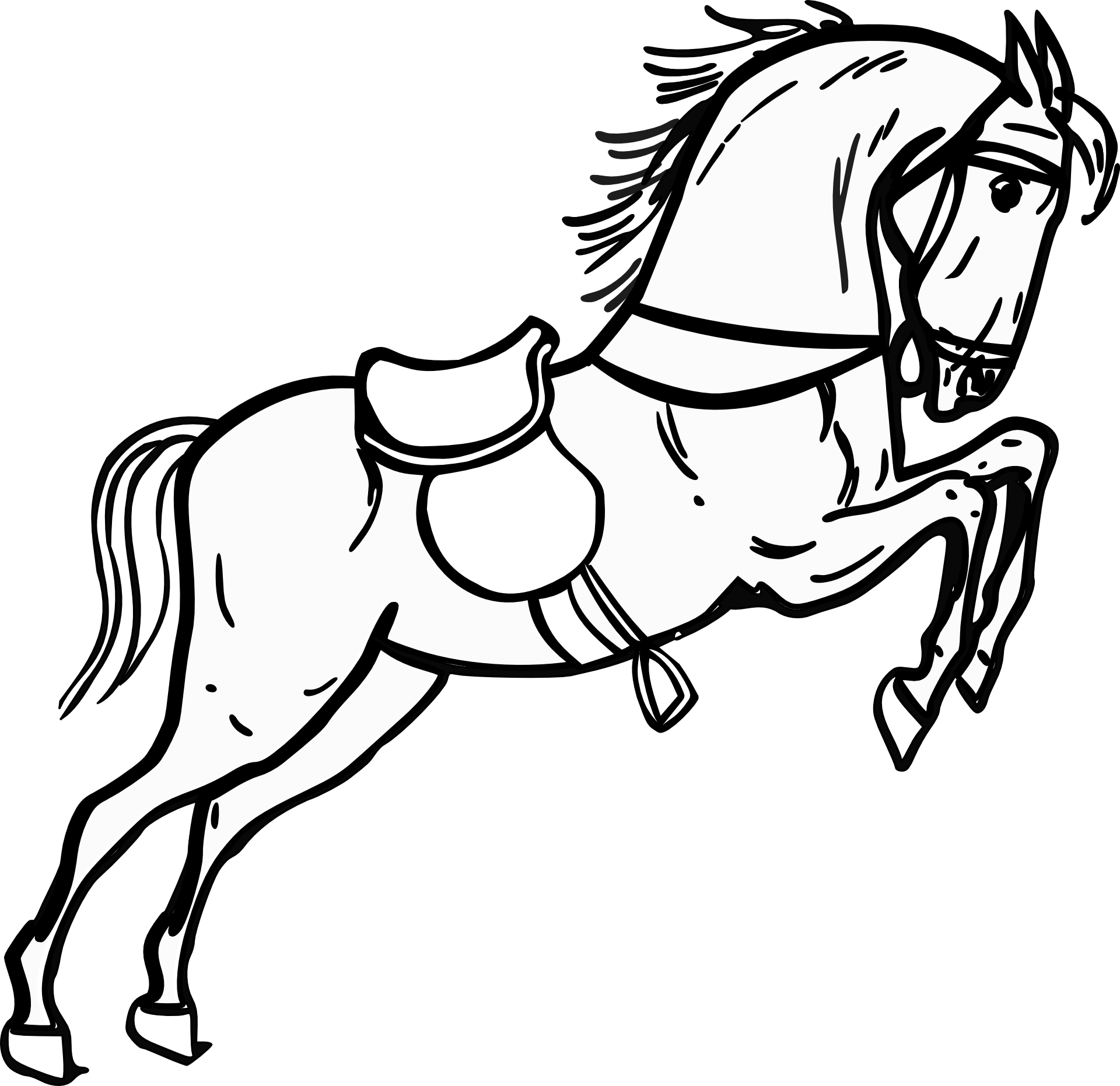 Black And White Graphic Image Of A Horse In A Jump Free Image