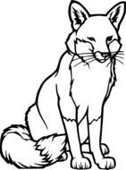Black and white drawing of the wild fox clipart