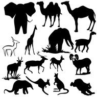 Black and white drawings of the different animals clipart