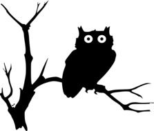 painted owl on a tree branch