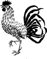 Black and white rooster clipart