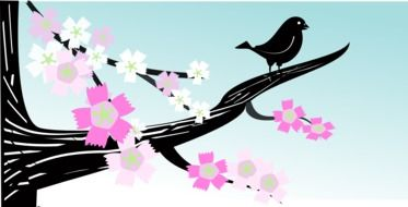 Bird perched Branch of blooming Tree, drawing
