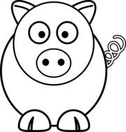 black and white drawing of a round pig