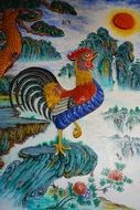 rooster in a colorful picture