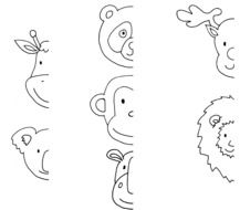 Black and white animals drawings clipart