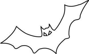 Black and white drawing of the bat clipart