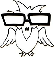 black and white drawing of a bird in glasses