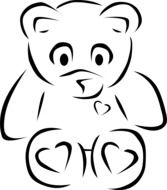 Unhappy Teddy Bear, black outline