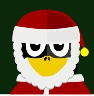 graphic image of a penguin in a santa claus costume