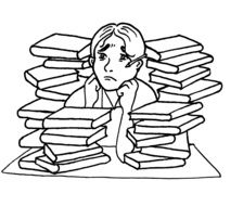 anxious man among the pile of books drawing