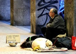 man sitting on the street next to a dog