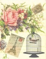 Vintage background with Victorian style Bird cage