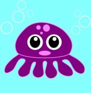 Purple squid clipart
