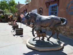 statue of horse and dog in New Mexico