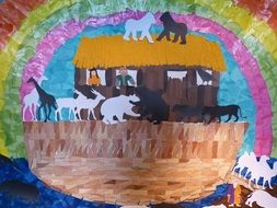 children's drawing of animals on Noah's Ark