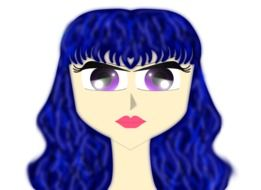 woman with blue hair as a graphic illustration