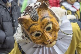 carnival wooden mask of a cat