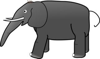 drawing of a gray elephant on a white background