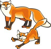 graphic image of a red fox with a small fox