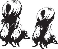 black and white graphic image of two skunks