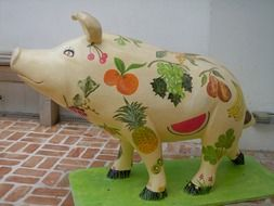 Colorful painted pig decoration
