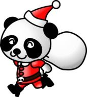 painted panda dressed as Santa Claus