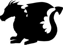 black silhouette of a dragon