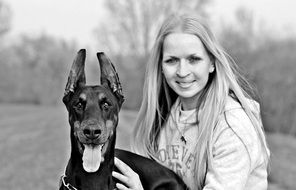Dog And Woman Black And White photo