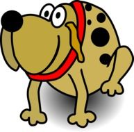 cartoon spotted dog with a red collar