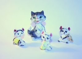 porcelain figurines with a cat orchestra