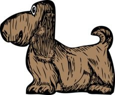 cartoon Long Haired Brown Dog, drawing
