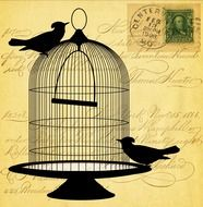 Clipart illustration of Vintage Victorian Bird cage