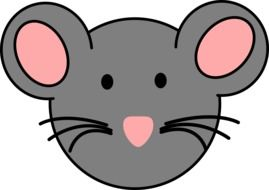 cartoon face of gray mouse