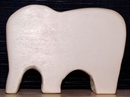 White wooden decoration in shape of Elephant