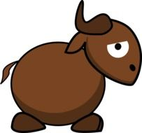 graphic image of a funny brown bull