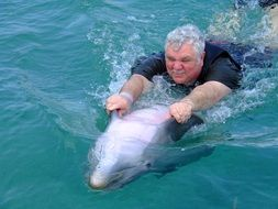 man with a dolphin in the water