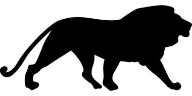black silhouette of a lion