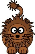 funny brown lion as a graphic image