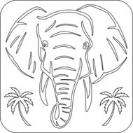 head of Elephant and palm trees, outline