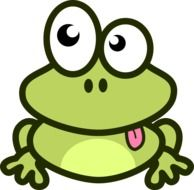 Clipart,picture of green frog with pink tongue