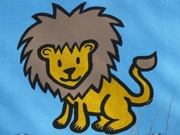 drawing of a lion on a blue background