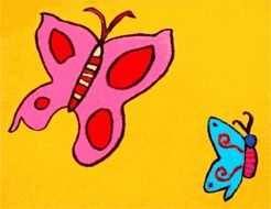 child's drawing with the image of two butterflies
