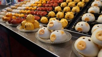 animal-shaped desserts in a candy store