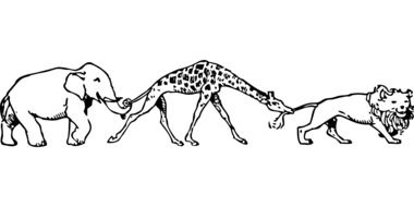Black and white elephant, giraffe and lion clipart