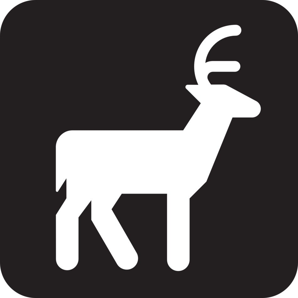 sign of a deer on the black background