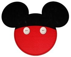 red black embroidery in the shape of Mickey Mouse
