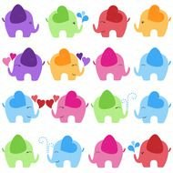 Clipart of the colorful Baby Elephants